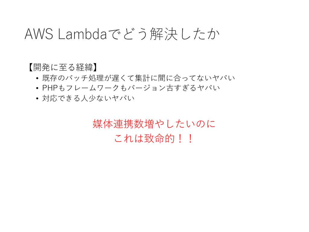 AWS Lambdaでどう解決したか 【開発に⾄至る経緯】 • 既存のバッチ処理が遅くて集計...