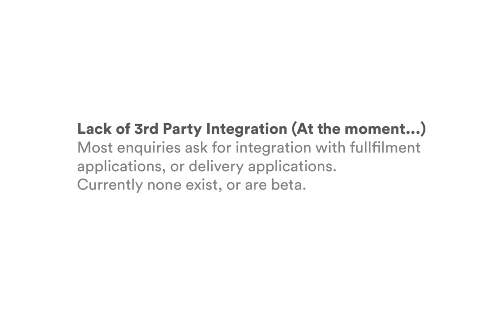 Lack of 3rd Party Integration (At the moment......