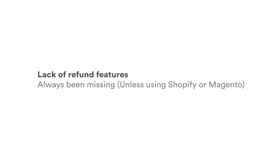 Lack of refund features Always been missing (Un...