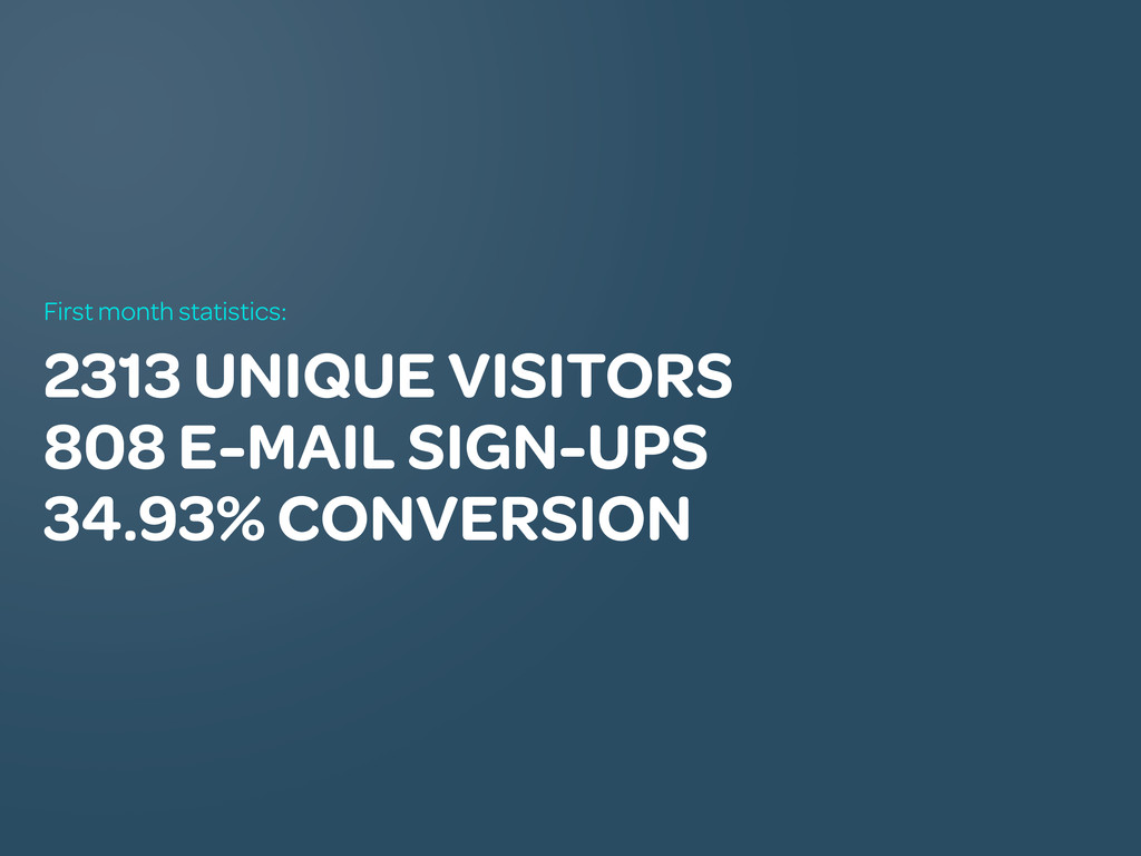 2313 UNIQUE VISITORS 808 E-MAIL SIGN-UPS 34.93%...