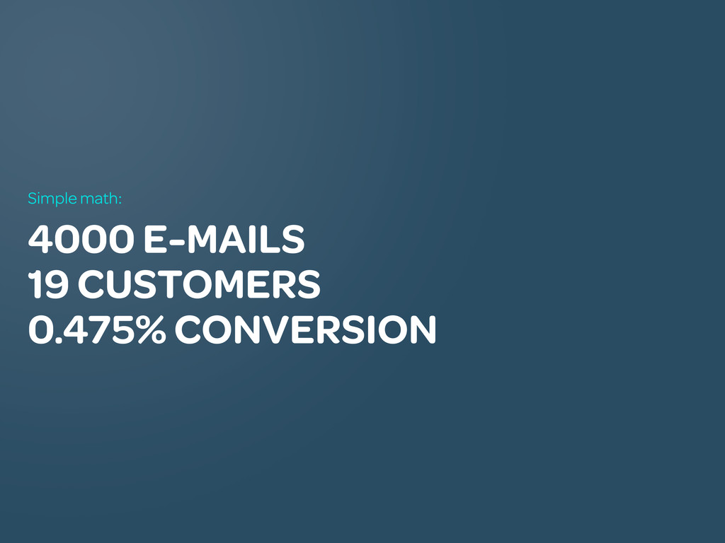 4000 E-MAILS 19 CUSTOMERS 0.475% CONVERSION Sim...