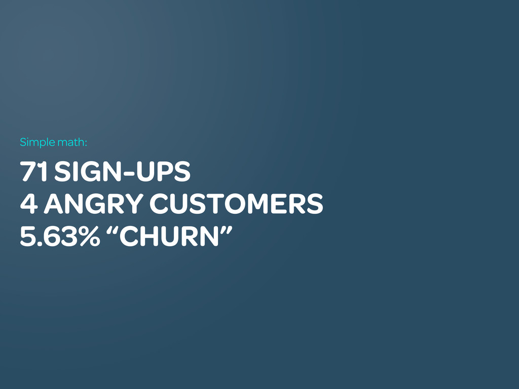 "71 SIGN-UPS 4 ANGRY CUSTOMERS 5.63% ""CHURN"" Sim..."