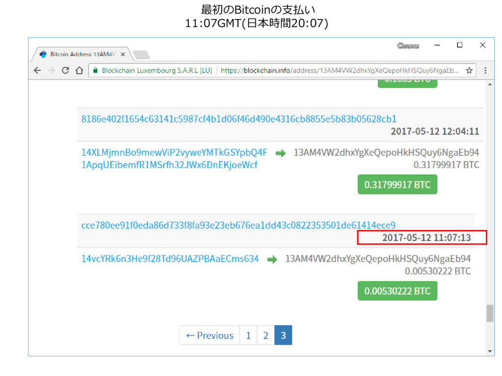 最初のBitcoinの支払い 11:07GMT(日本時間20:07)