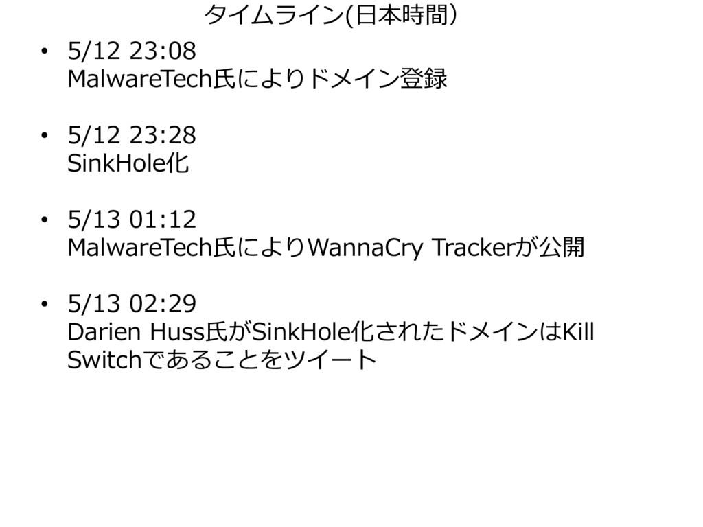 • 5/12 23:08 MalwareTech氏によりドメイン登録 • 5/12 23:28...