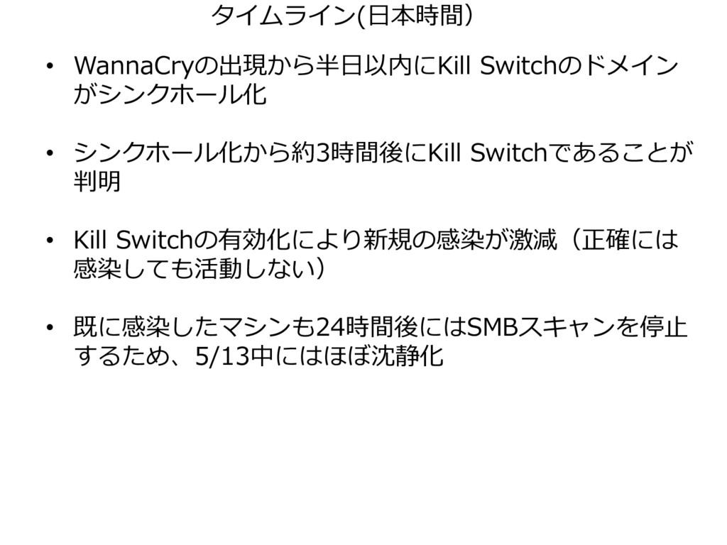 • WannaCryの出現から半日以内にKill Switchのドメイン がシンクホール化 •...