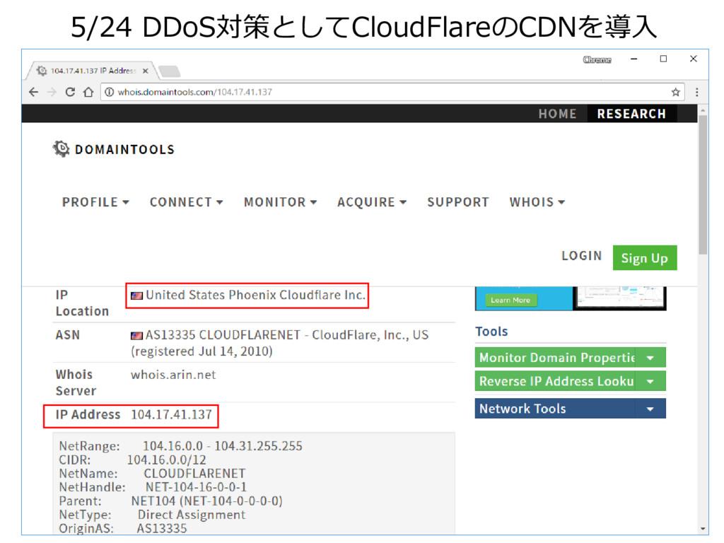 5/24 DDoS対策としてCloudFlareのCDNを導入