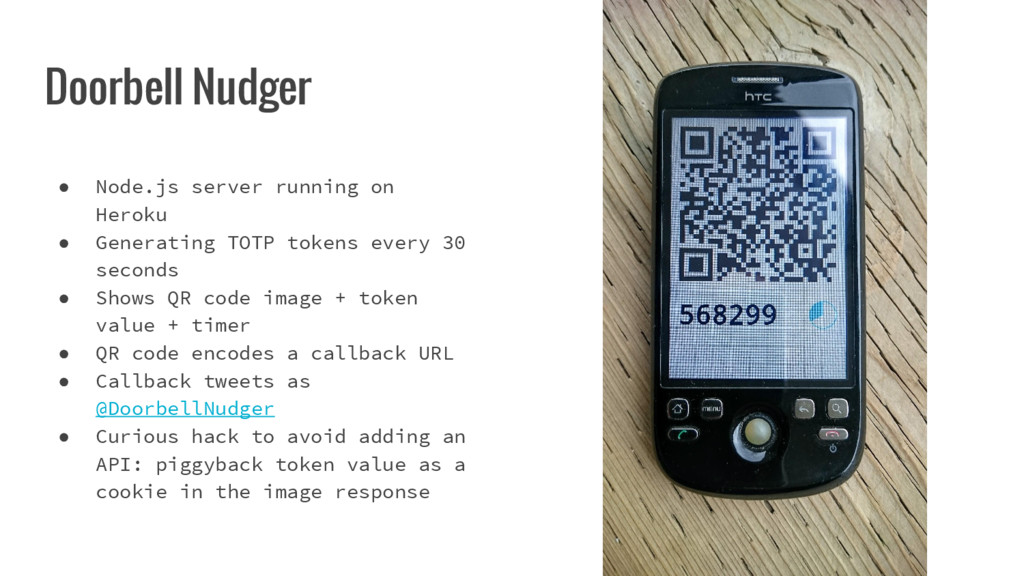 Doorbell Nudger ● Node.js server running on Her...