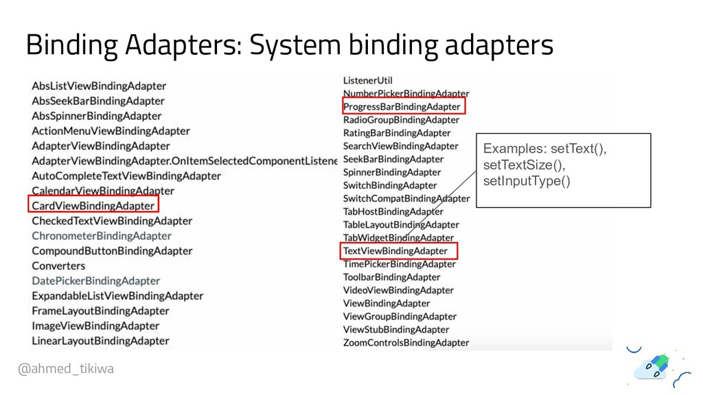 Binding Adapters: System binding adapters @ahme...