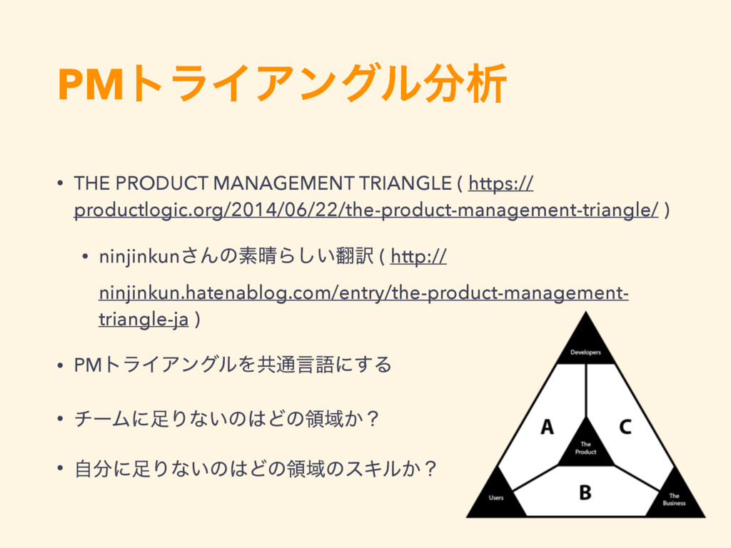 PMτϥΠΞϯάϧੳ • THE PRODUCT MANAGEMENT TRIANGLE (...