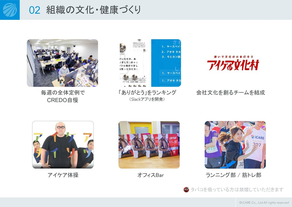 ©iCARE Co., Ltd All rights reserved 02 組織の文化・健康...