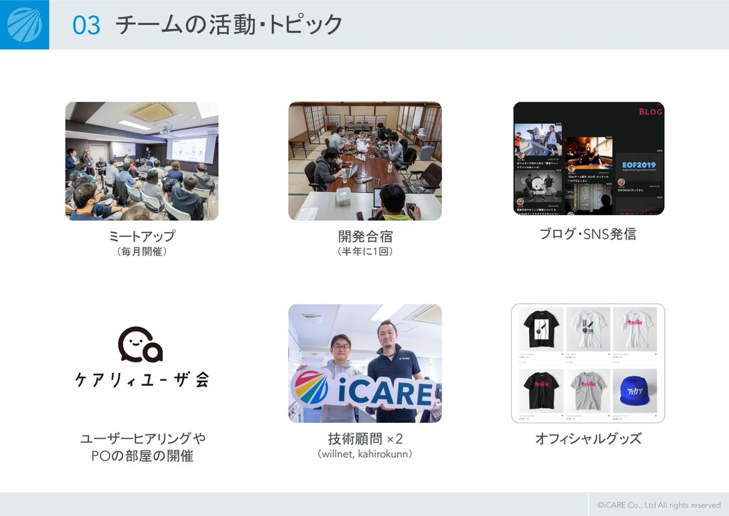 ©iCARE Co., Ltd All rights reserved ミートアップ (毎月開...
