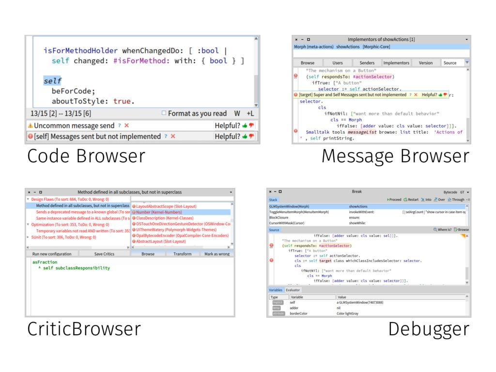 Code Browser Message Browser CriticBrowser Debu...