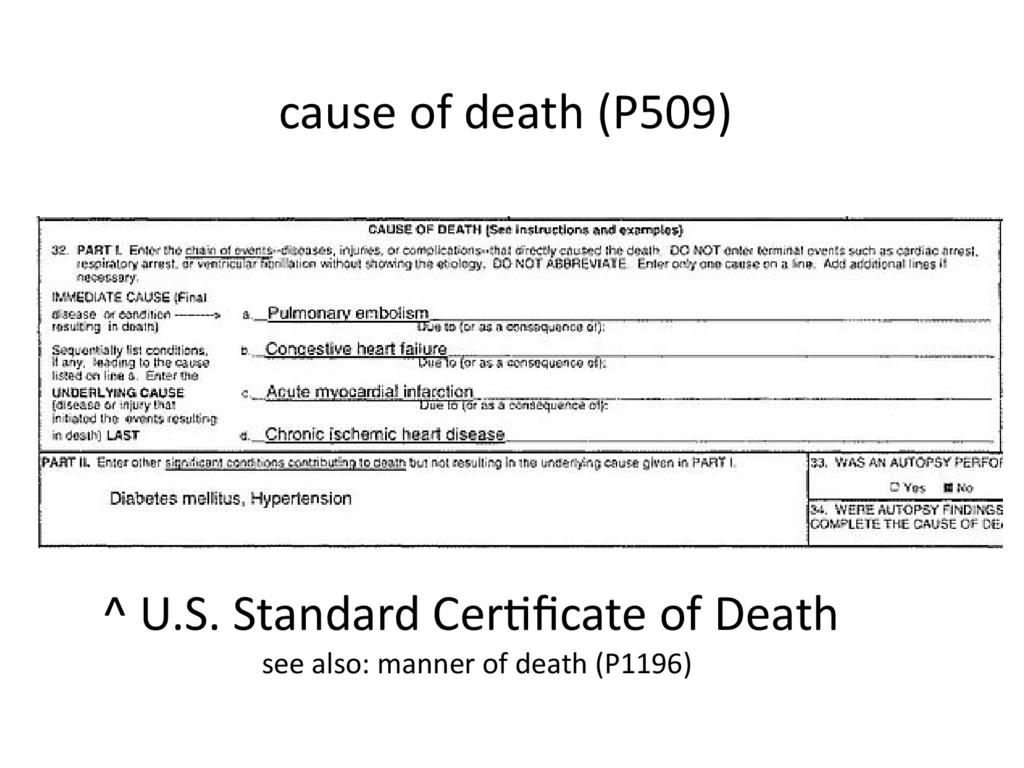 cause of death (P509) ^ U.S. Standard Certifica...