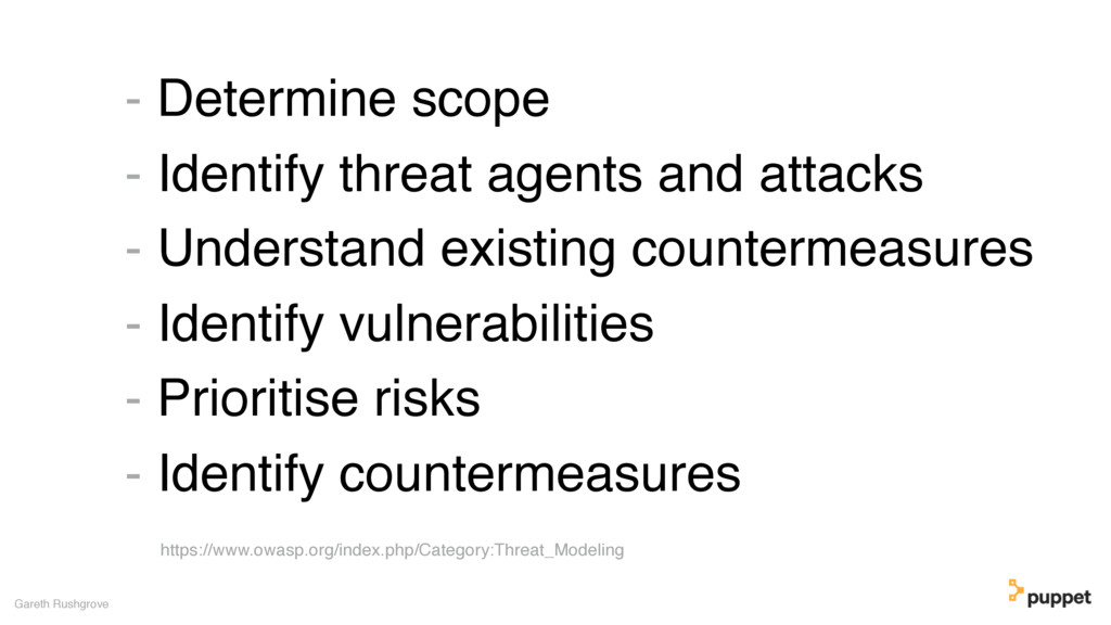- Determine scope - Identify threat agents and ...