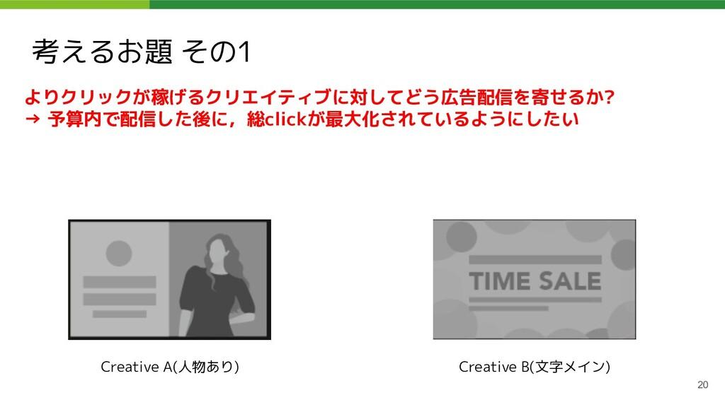 考えるお題 その1 20 よりクリックが稼げるクリエイティブに対してどう広告配信を寄せるか? ...