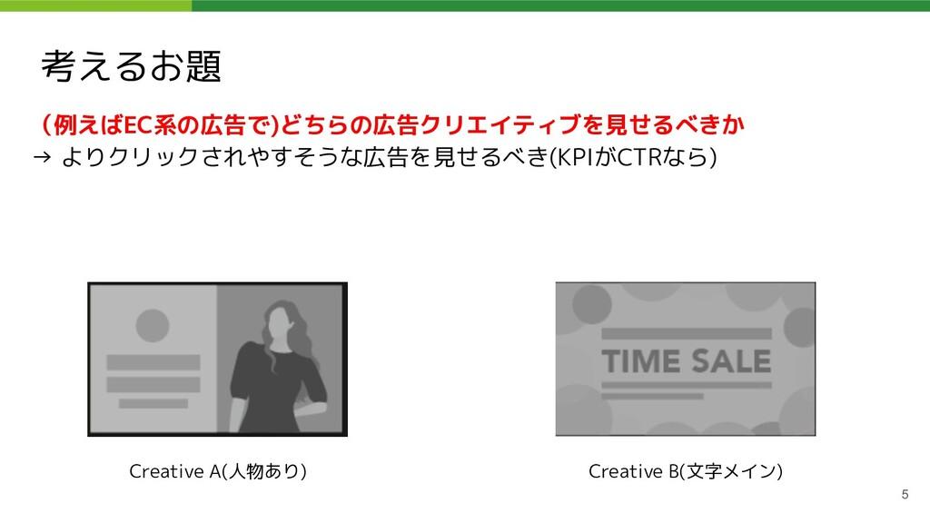 考えるお題 5 (例えばEC系の広告で)どちらの広告クリエイティブを見せるべきか → よりクリ...