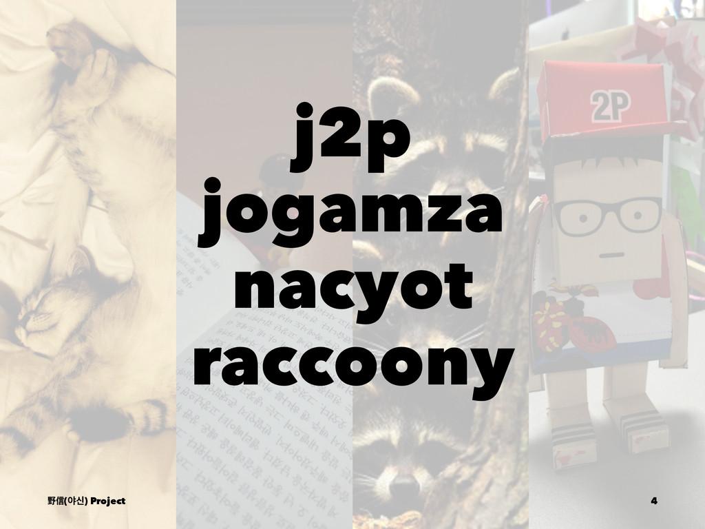 j2p jogamza nacyot raccoony ᛯᙩ(ঠन) Project 4
