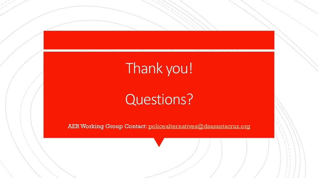 Thank you! Questions? AER Working Group Contact...