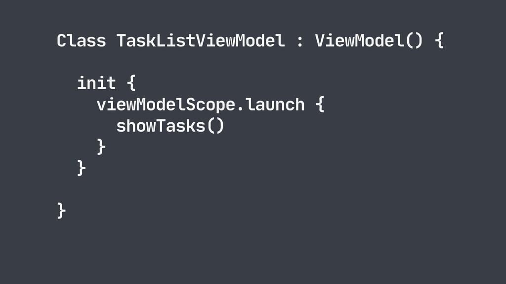 Class TaskListViewModel : ViewModel() {  init {...