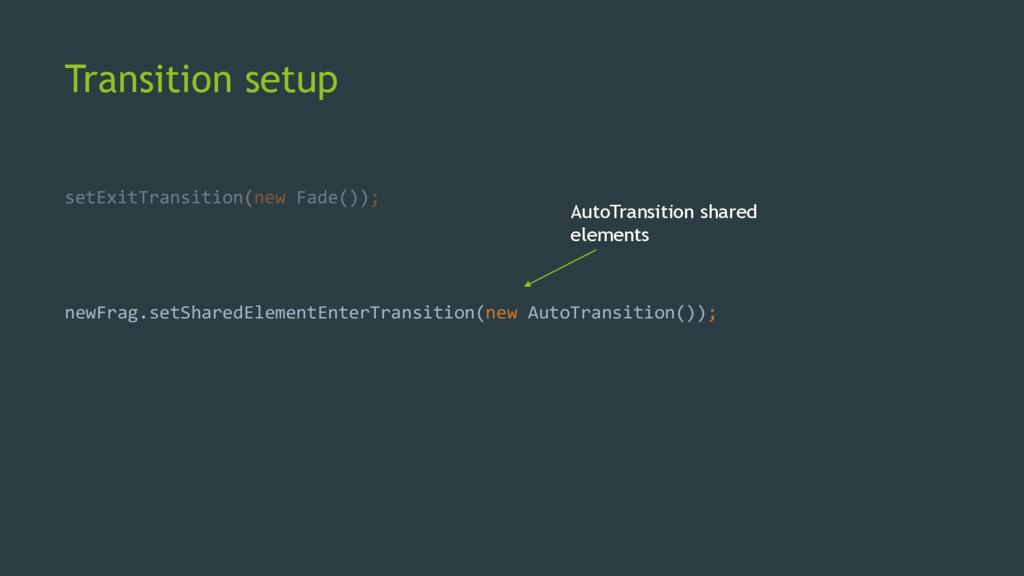 Transition setup newFrag.setSharedElementEnterT...