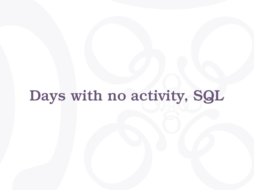 Days with no activity, SQL