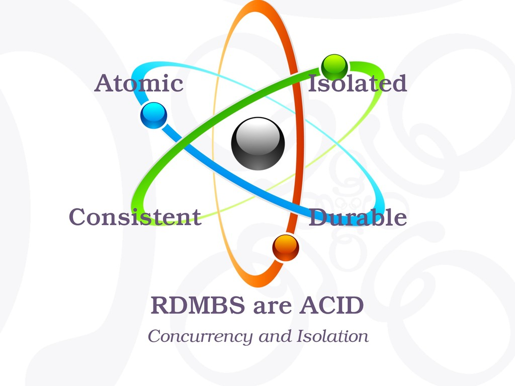 RDMBS are ACID Concurrency and Isolation Atomic...