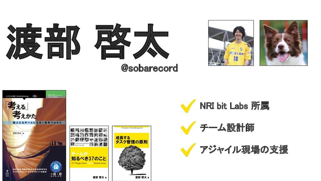渡部 啓太 @sobarecord NRI bit Labs 所属 チーム設計師 アジ...