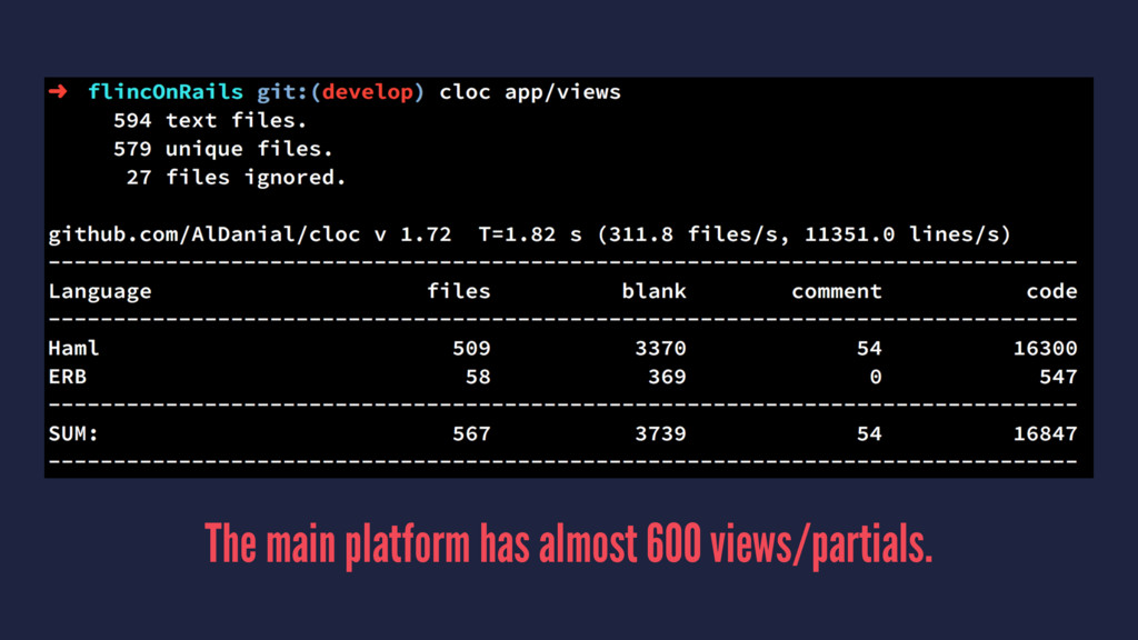 The main platform has almost 600 views/partials.