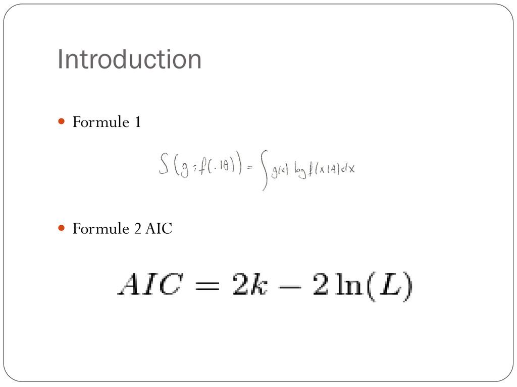 Introduction  Formule 1  Formule 2 AIC