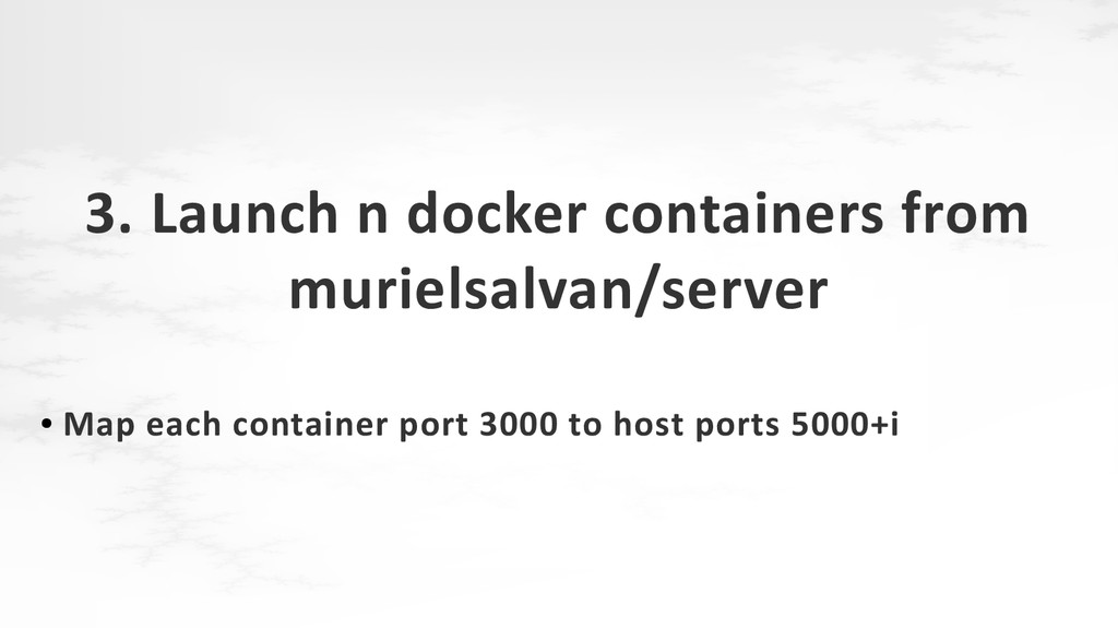 3. Launch n docker containers from murielsalvan...