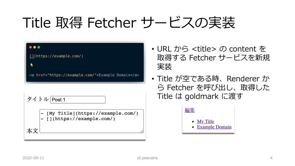 Title 取得 Fetcher サービスの実装 • URL から <title> の con...