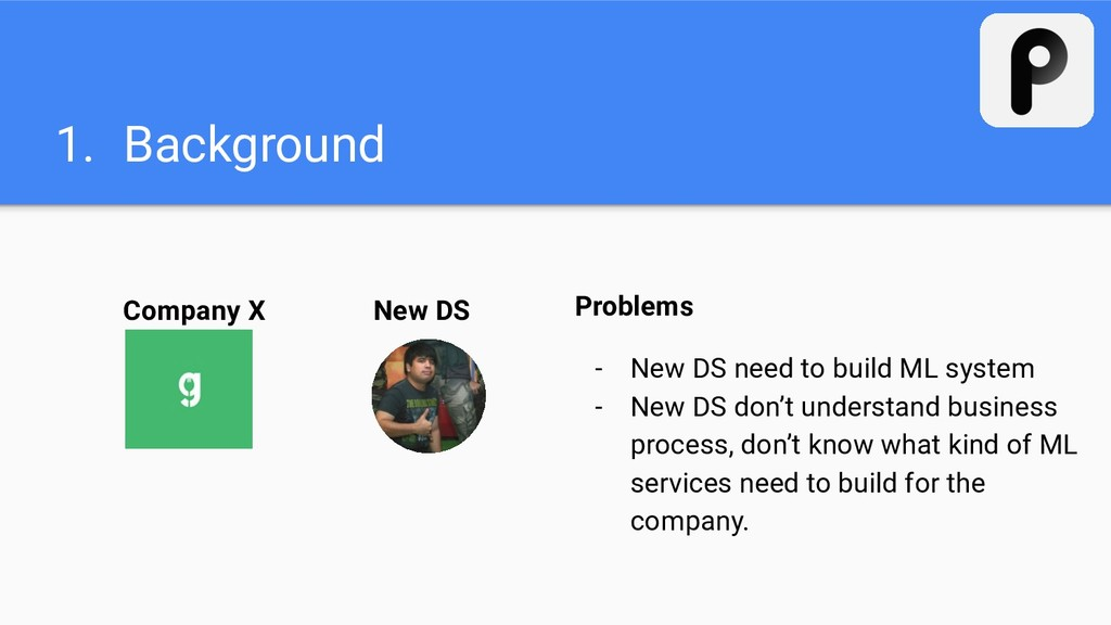 New DS 1. Background Company X Problems - New D...