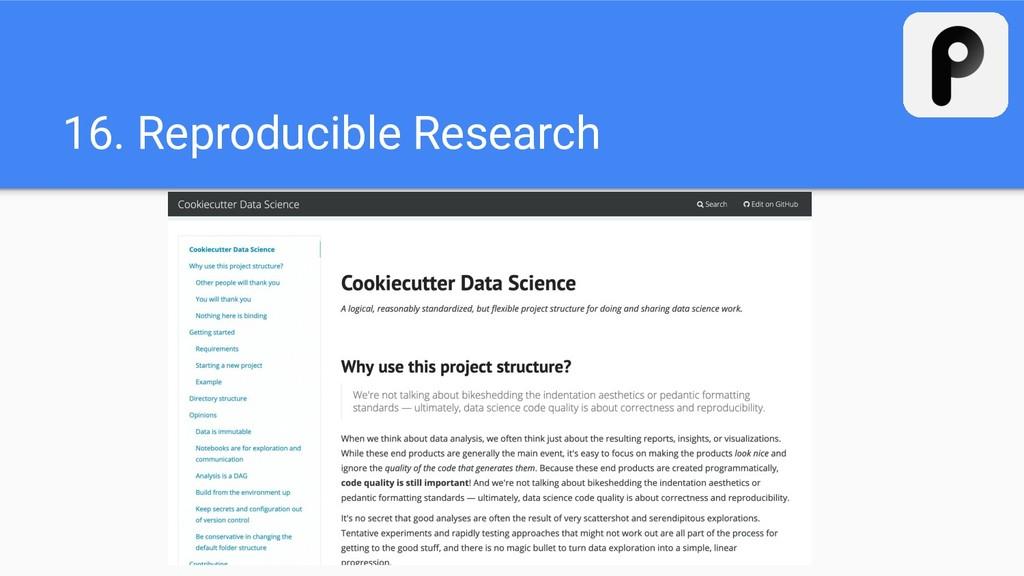 16. Reproducible Research