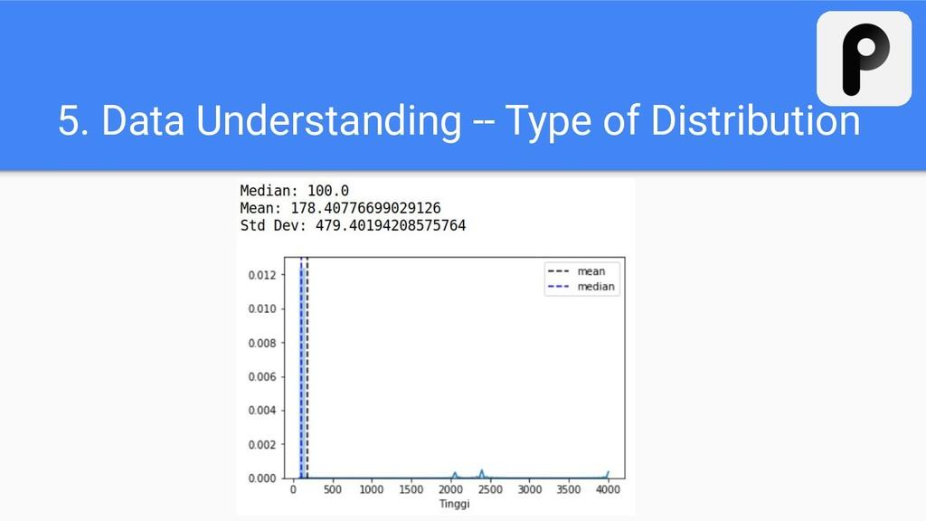 5. Data Understanding -- Type of Distribution
