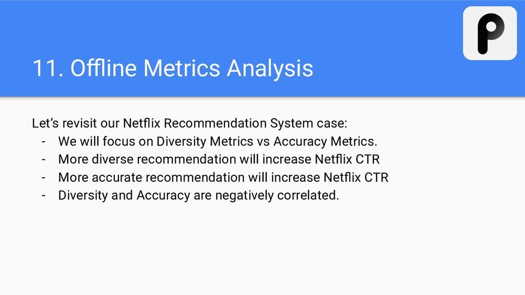 11. Offline Metrics Analysis Let's revisit our Ne...