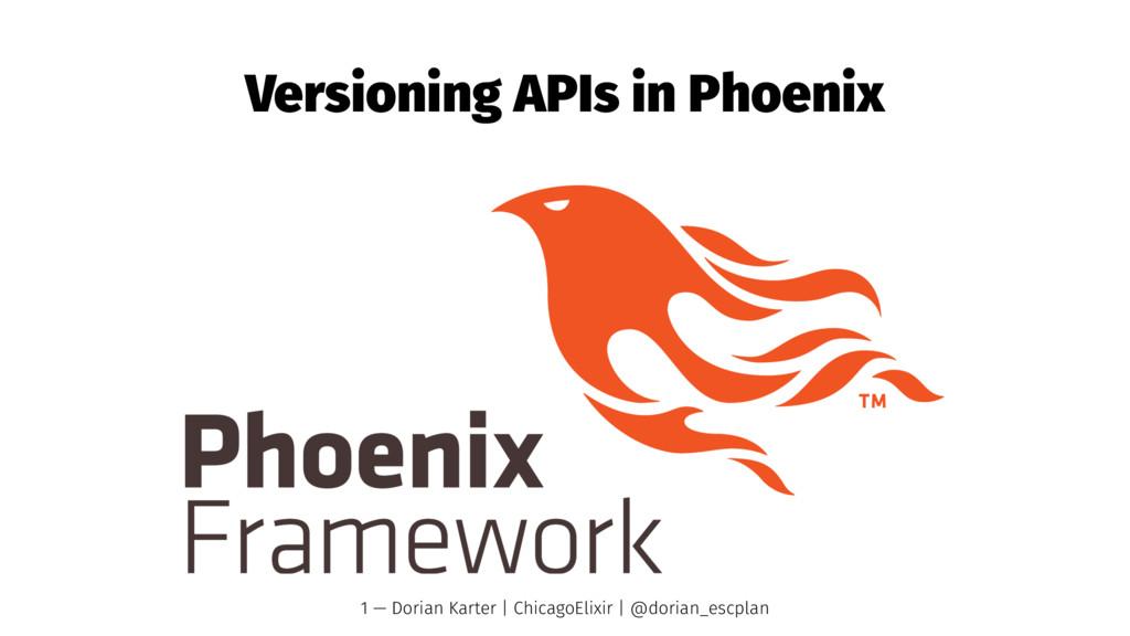 Versioning APIs in Phoenix 1 — Dorian Karter | ...