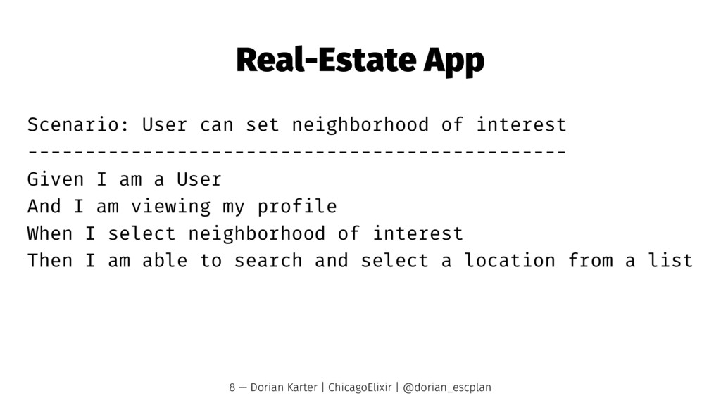 Real-Estate App Scenario: User can set neighbor...