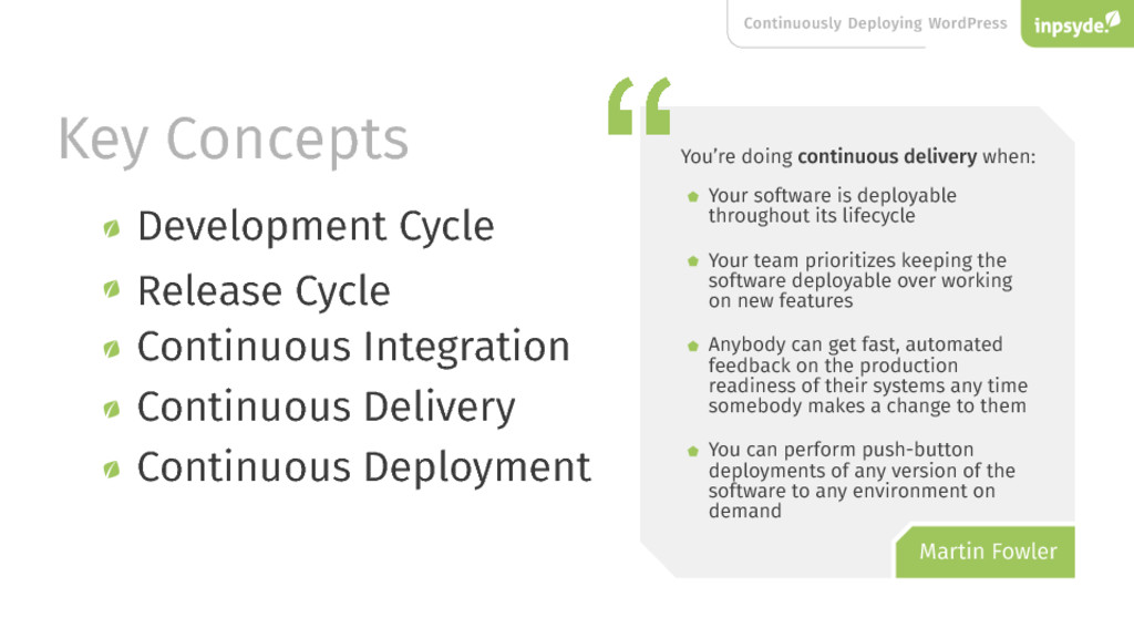 Key Concepts Continuous Integration Continuous ...