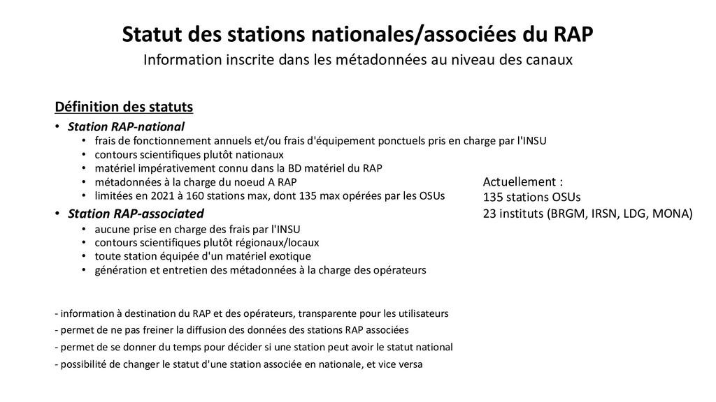 Statut des stations nationales/associées du RAP...