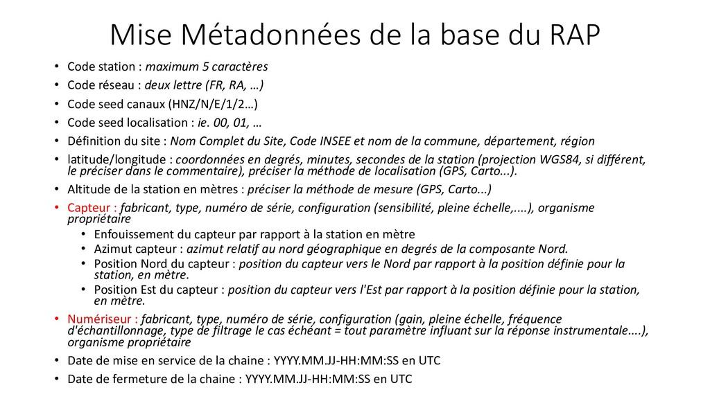 Mise Métadonnées de la base du RAP • Code stati...