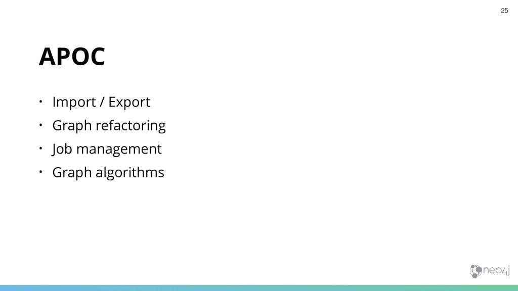 APOC • Import / Export • Graph refactoring • Jo...