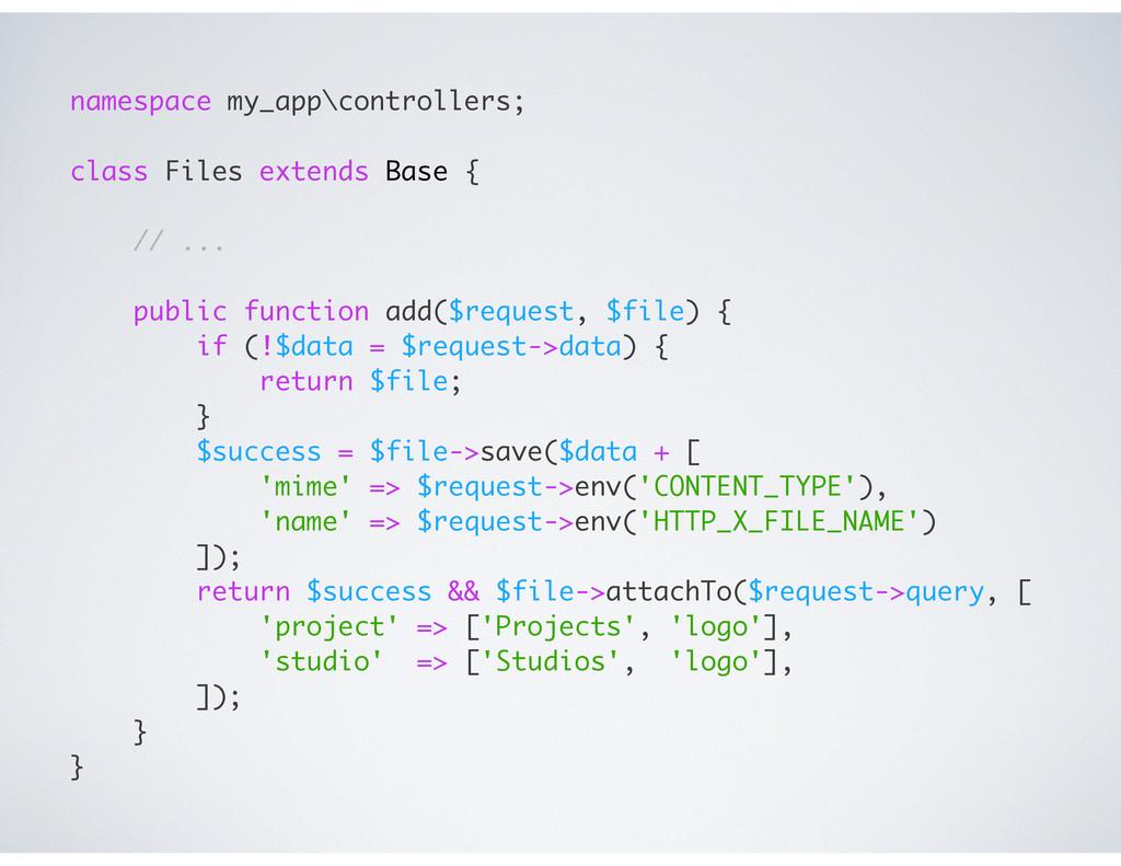 namespace my_app\controllers; class Files exten...