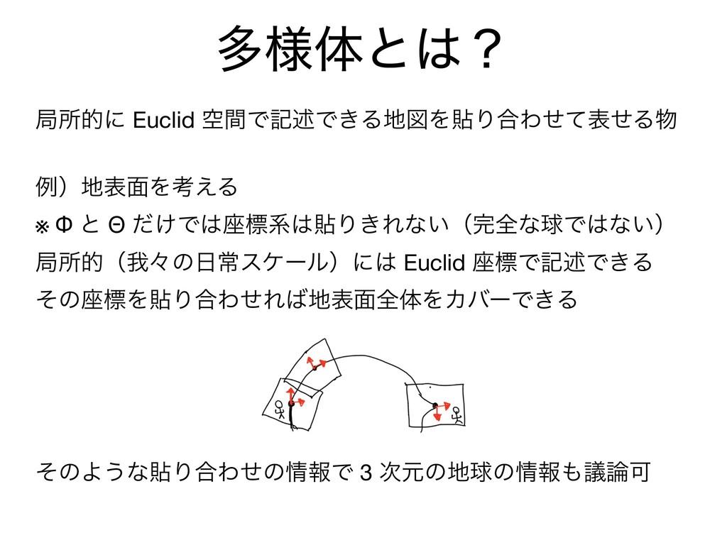 ଟ༷ମͱʁ ہॴతʹ Euclid ۭؒͰهड़Ͱ͖ΔਤΛషΓ߹ΘͤͯදͤΔ  ྫʣද໘...