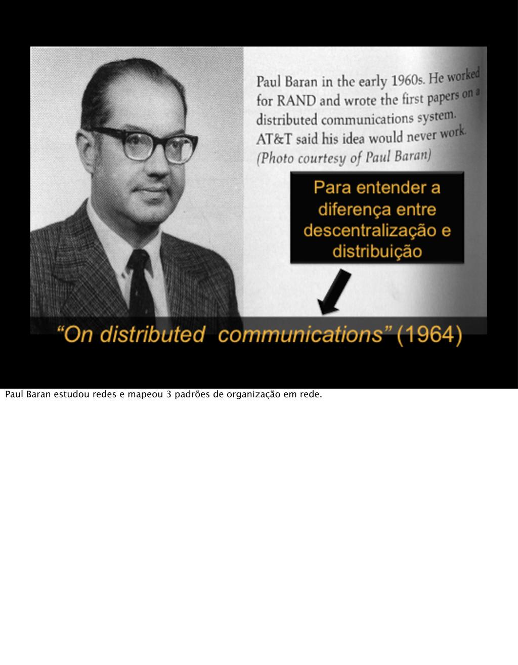 Paul Baran estudou redes e mapeou 3 padrões de ...