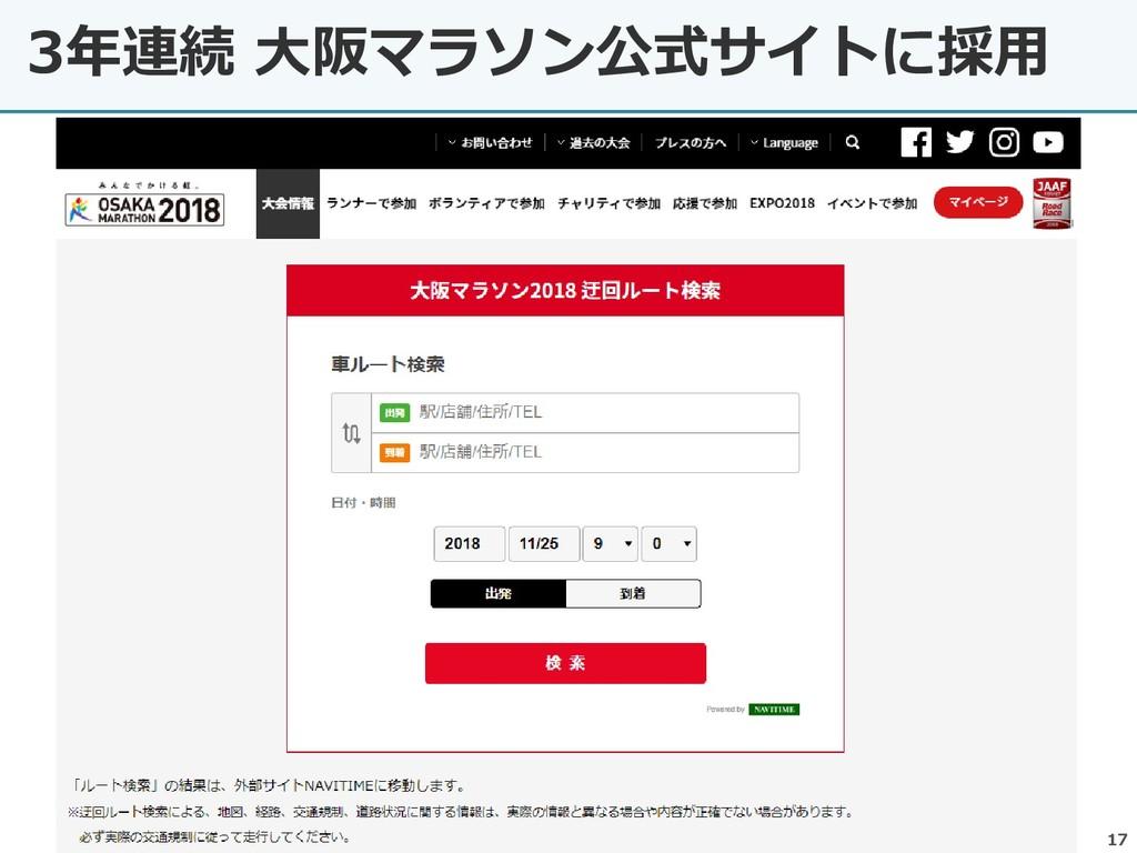 3年連続 大阪マラソン公式サイトに採用 17