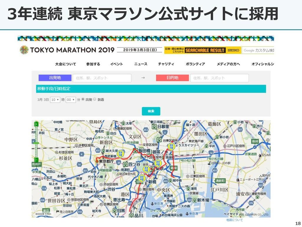3年連続 東京マラソン公式サイトに採用 18