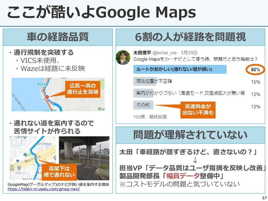 37 ここが酷いよGoogle Maps 車の経路品質 ・通行規制を突破する ・VICS未使用...