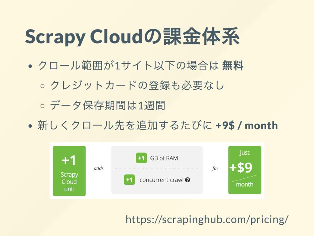 Scrapy Cloud の課金体系 クロー ル範囲が1 サイト以下の場合は 無料 クレジット...