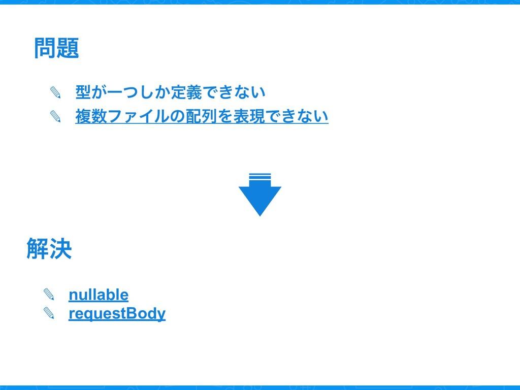  ✎ ܕ͕Ұ͔ͭ͠ఆٛͰ͖ͳ͍ ✎ ෳϑΝΠϧͷྻΛදݱͰ͖ͳ͍ ✎ nullable...