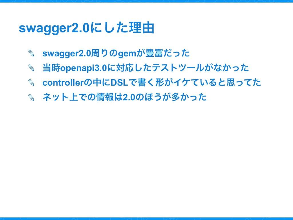 swagger2.0ʹͨ͠ཧ༝ ✎ swagger2.0पΓͷgem͕๛ͩͬͨ ✎ op...